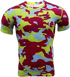 Short Sleeve Red Camo T Shirt Mens Dri Fit Compression Top