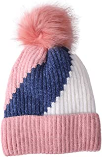 POPNINGKS Women's Knitted Hats Casual New Wool Hemming Hat Fashion Winter Keep Warm Cap Tricolor Patchwork Ski Hat for Girls