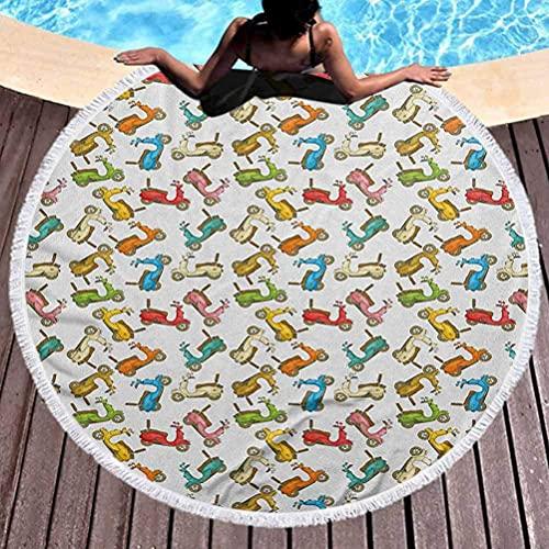 Manta de playa, tapiz redondo para motocicleta, para colgar en la pared, ciclomotores famosos en estilo de dibujos animados, patinetes italianos retro para picnic en la playa, alfombra para yoga, mult