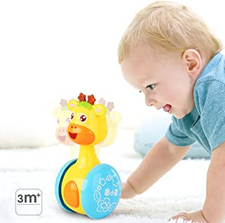Dayan Cube FWRO2018102006 FWRO2018102006 Giraffe Roly-Poly Baby Tumbler Cute Rattles Ring Bell Doll Xmas Children Kids Toy Early Educational Toy, Colorful