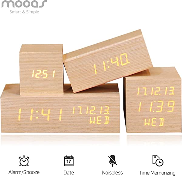 Mooas LED Display Wooden Alarm Clock Rectangle