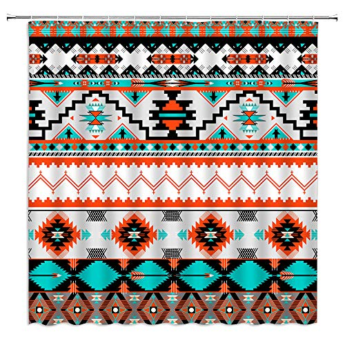 "Aztec Shower Curtain Abstract Geometric Tribal Navajo Ethnic American Southwestern Native Vintage Colorful Pixel Pattern Fabric Bathroom Decor Set with Hooks,Orange Cyan Black(70"" WX70 H)"