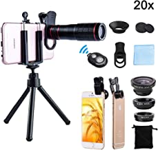 DDcafor Universal Smartphone Telephoto Camera Lens Kit, 20x Focus 15x Macro & 180° Fisheye Lens Adjustable Clip HD Night Shot, Compatible with Android, iPhone Series