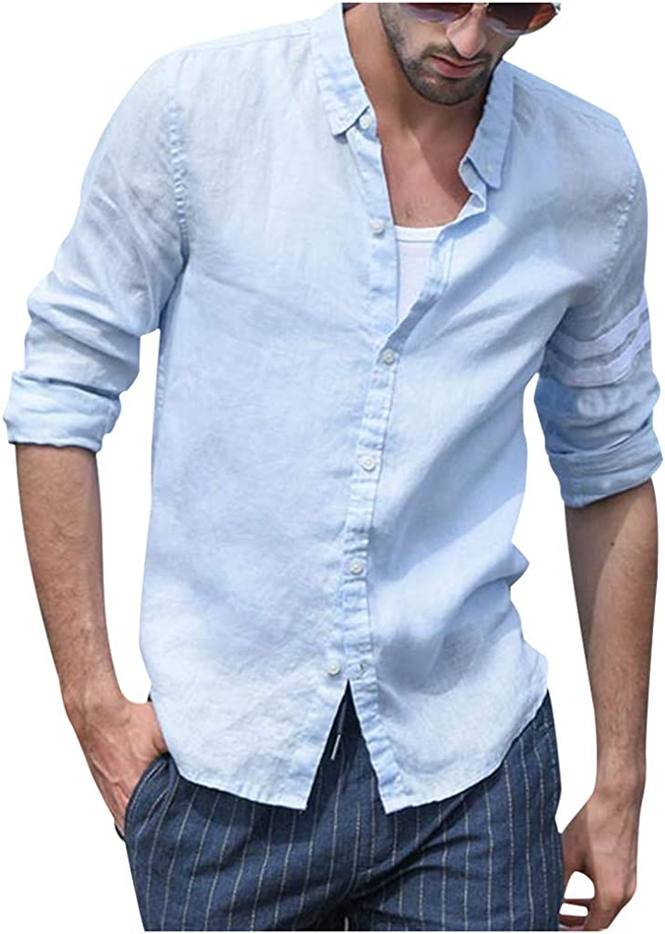 MODOQO Men's Long Sleeve Button Down Shirt Casual Solid Linen Loose Fit Dress Shirt