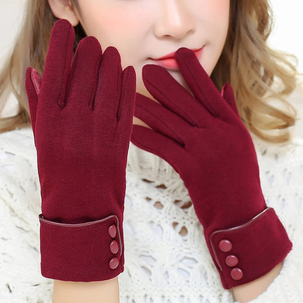 COSYOO Washable Fashion Thicken Winter Gloves Windproof Warm Lightweight Matte Breathable Touch Screen Gloves Outdoor Gloves for Women