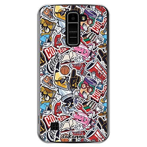dakanna Funda Compatible con [LG K10 4G] de Silicona Flexible, Dibujo Diseño [Pattern Vintage Estilo Pegatinas Comic], Color [Borde Transparente] Carcasa Case Cover de Gel TPU para Smartphone