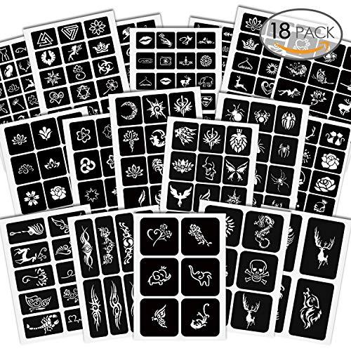 Amteker 285 Stück Temporäre Tattoo Schablonen - Glitter Kinder Tattoos Schablone Sticker Tätowierung Schablonen für Jugendliche Erwachsene Henna Designs (18 Blätter)