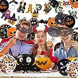 Halloween Deko, 42 Stück Luftballons Halloween Horror Deko Set, inklusive Fledermaus, Spinne, Kürbis Deko, Happy Halloween Banner, für Garten Bar Wohnzimmer Horror Party - 4