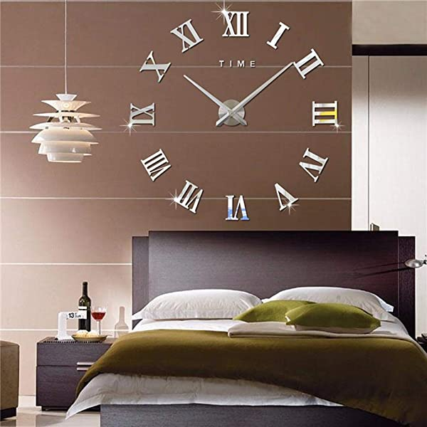 Frameless 3D DIY Silent Wall Clock Mirror Surface Decorative Clock Large Wall Stickers Clock Living Room Bedroom Office Home Decorations Silver