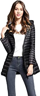Women's Ultra Light Weight Warm Long Down Jacket Solid Color Hooded Packable Outwear Coat