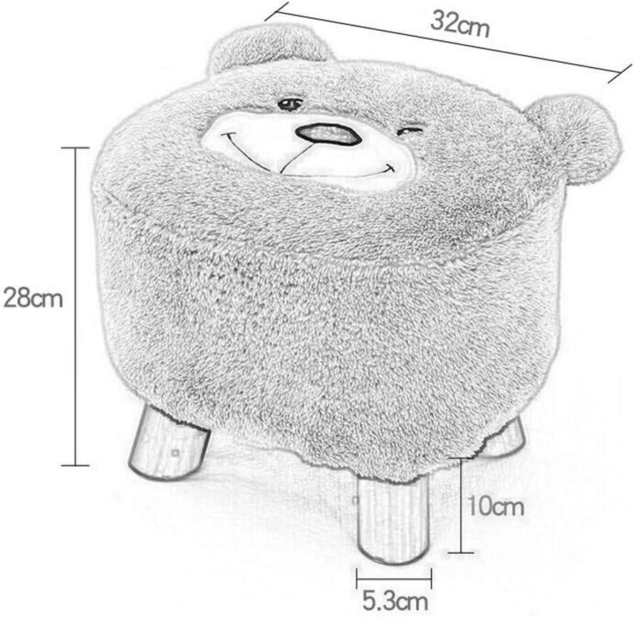 ZH Tabouret, petit siège, tissu de dessin animé en bois massif (Color : Gray) Light Gray