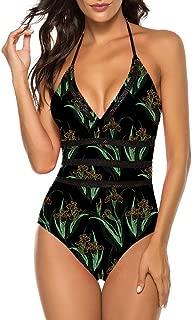 Womens Sexy Halter Plunge Monokini One Piece Swimsuit Bathing Suit