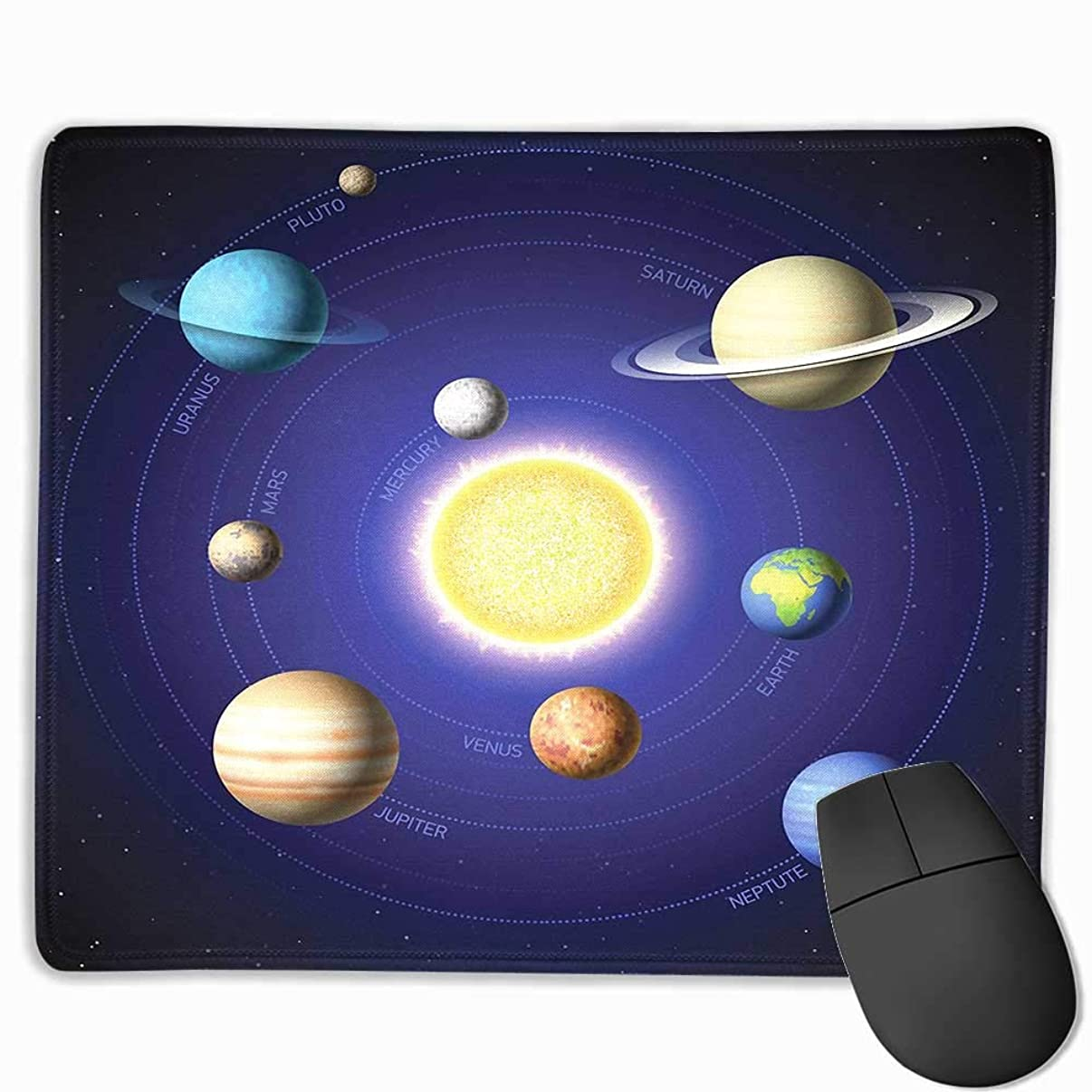 Space Office Mouse Pad Solar System Illustration Showing Planets Around Sun Harmony of Galaxy Science Room Image Custom Mouse pad 8.5