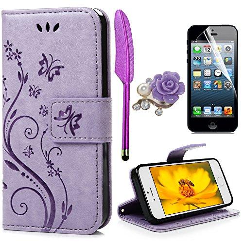 Yokirin - Custodia a portafoglio per iPhone 5 5S SE, in pelle PU, motivo con farfalle e fiori, colore: Blu