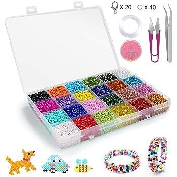 24 Colores Cuentas de Colores 2mm Mini Cuentas de Cristal 24000 Piezas para DIY Arte y Joyer/ía-Making Pulseras Collares Bisuter/ía