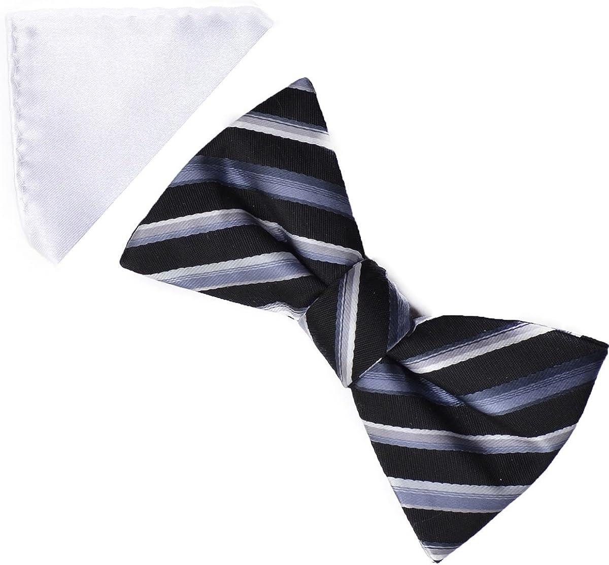 Alfani Spectrum Men's Bow Tie + Pocket Square Casanova Stripe Black/ White /Grey