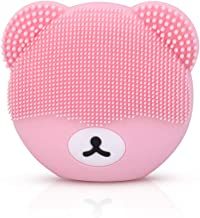 Caxinthy Silicone Facial Cleansing Brush - Waterproof Rechargeable Sonic Face Brush for Deep Scrubbing, Gentle Exfoliating, Removing Blackhead, Massaging - Bear Shape, Pink