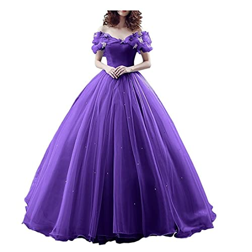 f759941c203 Chupeng Women s Princess Costume Butterfly Off Shoulder Cinderella Prom Gown  Wedding Dresses Evening Gown Quinceanera Dress