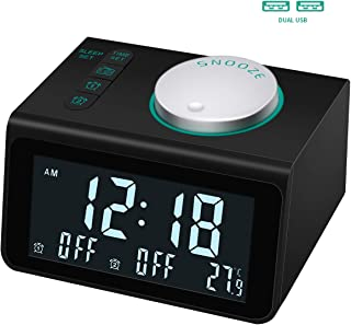 Alarm Clock Radio with FM Radio,3.2 Inch Digital Display and 5 Level Brightness Dimmer,Dual USB Charging Ports,Temperature Display,Dual Alarms with 7 Alarm Sounds,Headphone Jack,Bedrooms Sleep Timer