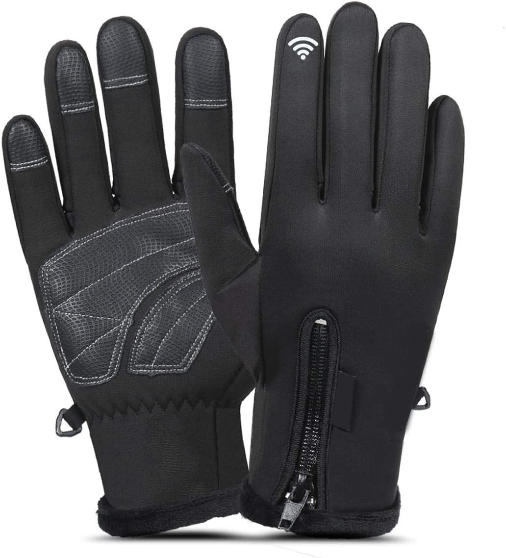 Lupovin-Keep Warm Men Women Winter Gloves Outside Sports Motorcycle Raincoat Windproof Antiskid Touch Screen Non-Slip (Color : Black, Size : S)
