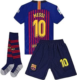 Giskoel Messi #10 Barcelona Home Kids/Youth Socce Jersey 2018-2019 Matching Shorts,Socks