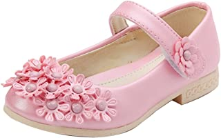 Gaorui New Kids Baby Girls Shiny Flower Sandals Ankle Strap Princess Flat Shoe Ballet Dance Shoes