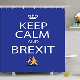 Ahawoso Shower Curtain Set with Hooks 66x72 Keep Calm Brexit Exit Concept Character EU Star Walking Signs Symbols UK Abstract Union Finance in Waterproof Polyester Fabric Bath Decor for Bathroom