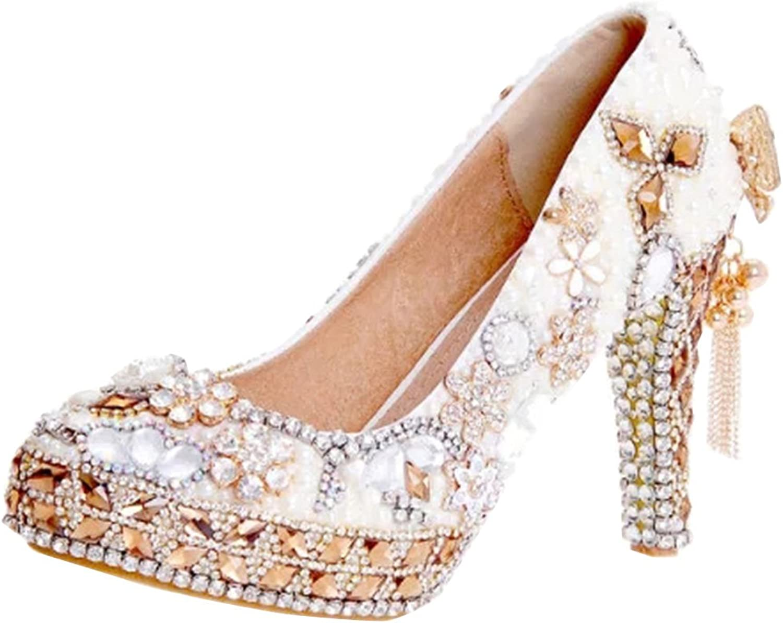 TDA Women's Elegant Bow-Knot Tassel Pearl Wedding Party Dress Stiletto Pumps