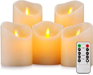 Pandaing Battery Operated Candles Set of 5 Pillar Realistic Moving Flame Real Wax Flameless Flickering LED Candles with Remote Control 2 4 6 8 Hours Timer