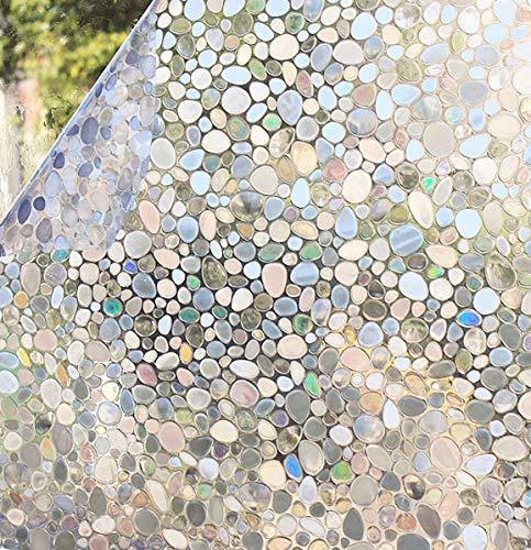 Shackcom Fensterfolie Selbsthaftend Blickdicht Sichtschutz Sichtschutzfolie 60x200CM Statisch Haftend Anti-UV Dekorfolie für Bad Küche Büro Zuhause-Z004