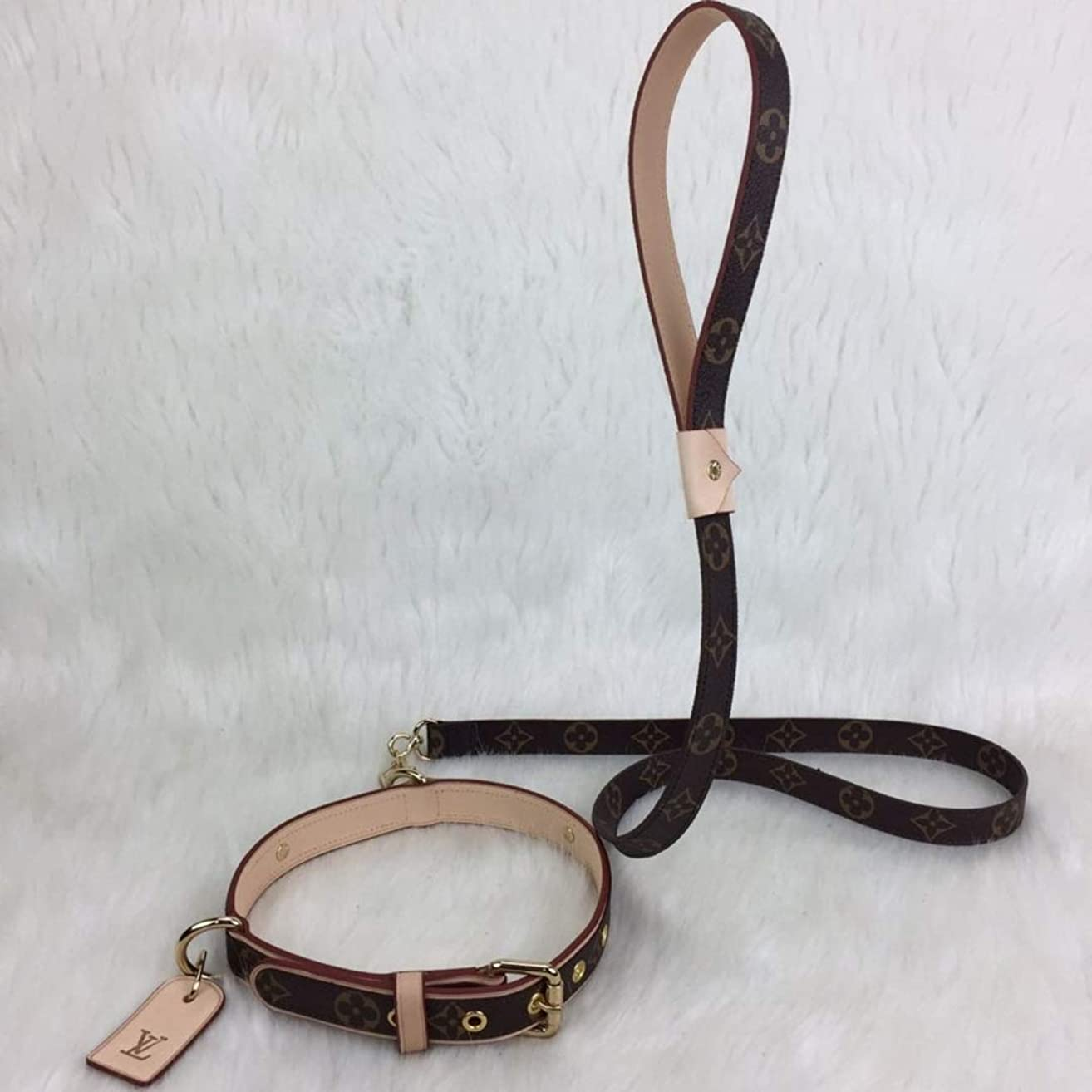 Original Brown Monogram L*uis V*itton Leather Dog Collar & Leash HandMade by - DesignerBomb.