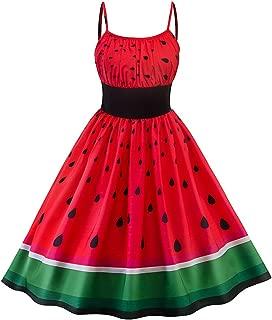 Heitaisi Women Girl Summer Sundress Watermelon Print Colorblocking Waist Swing Sleeveless Dress