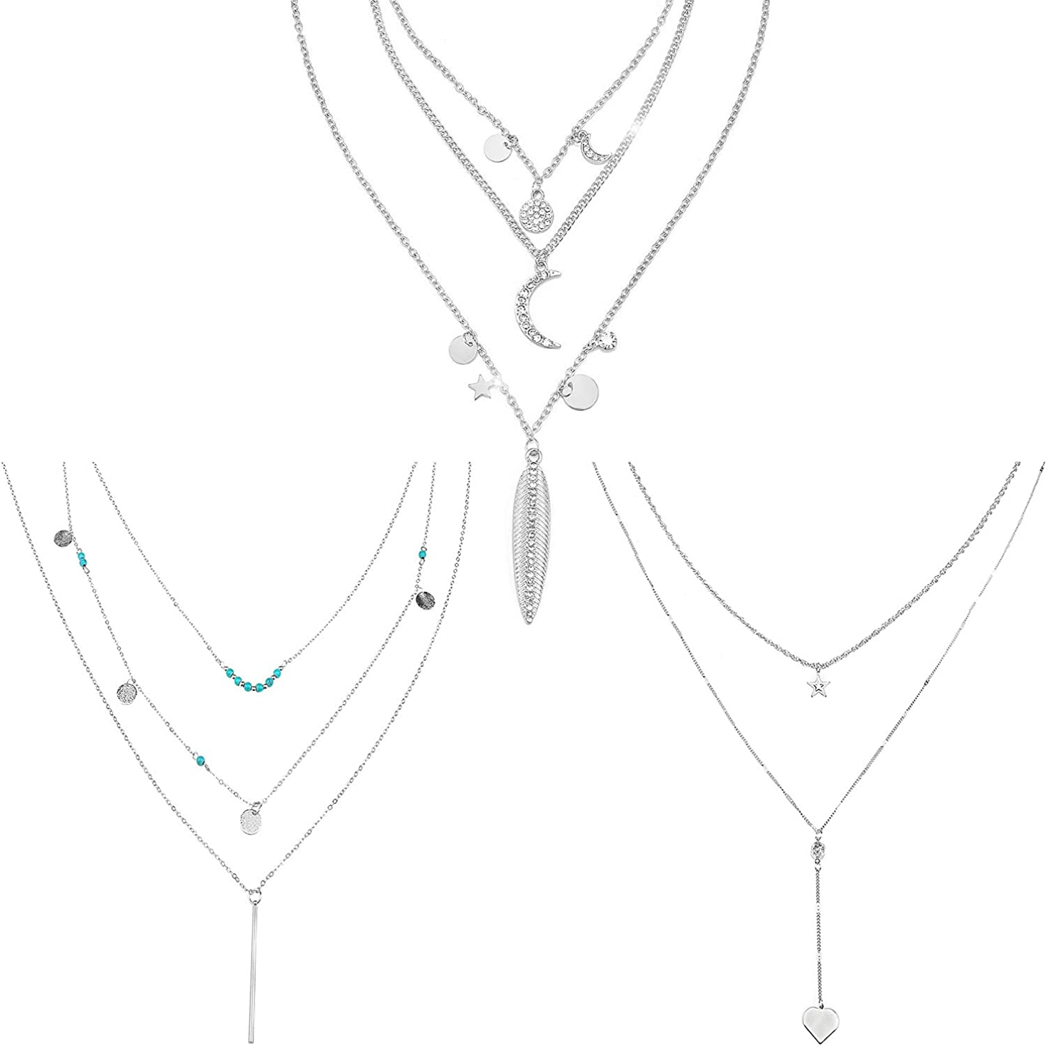 Wovanoo 3 Pieces Multilayer Necklace Set Laying Turquoise Sequin Moon Necklace Boho Y Pendant Chain for Women Gift