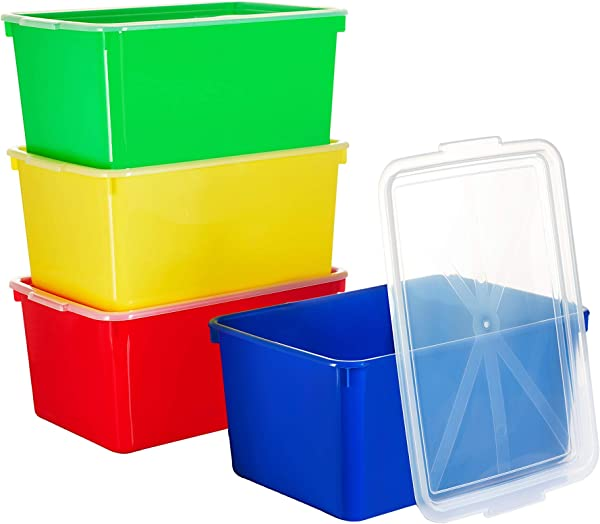 Zilpoo 4 Pack Toy Organizer Bins With Lids 20 Quart Large Stackable Plastic Storage Containers For Lego With Cover School Kids Classroom Closet Covered Toys Cubby Box