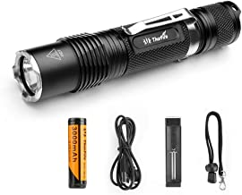 Thorfire 18650 Flashlight with Battery and Charger, 1070 Lumen Led Ultra Bright EDC Pocket Light(VG15S) with 5 Modes for Camping, Hiking,Cycling