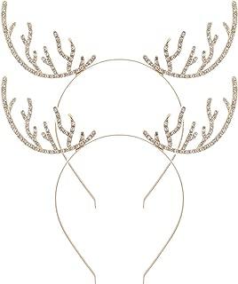 2 Pack Christmas Reindeer Antlers Headbands Crystal Rhineston Deer Horn Headband Hair Band Gold