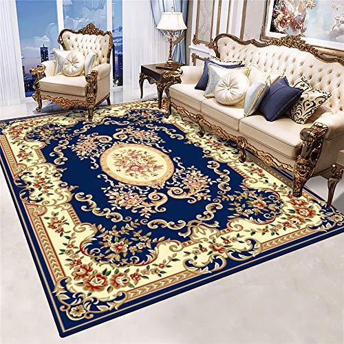 Alfombras Salon Moderno, Alfombra De Piso Pasillo Gateo Bebes, Patrón Azul Clásico Chino, Flores Rojas, Azul, Alfombra Decorativa Antideslizante 200x300cm