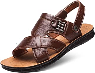 Sumuzhe Cool and comfortable Outdoor Sandals for Men Summer Walking Fisherman Slipper Beach Shoes Open Toe Stitch Metal Decor Anti-Slip Genuine Leather Summer must (Color : Brown, Size : 47 EU)