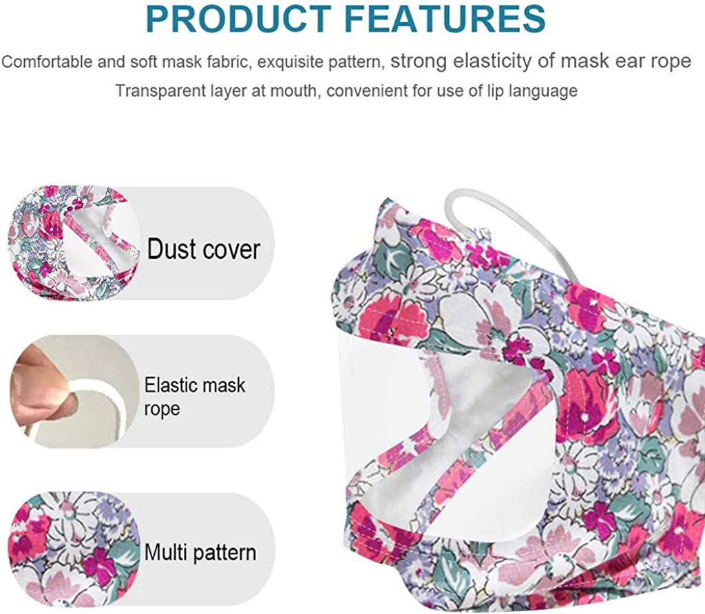 YUANHAOGEI Men Women Mouth Cover Washable Reusable Breathable Transparent Face Covering