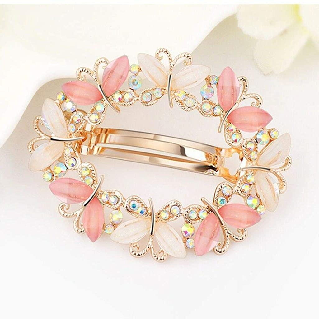 Women Crystal Rhinestone Flower Barrette Hair Clip Clamp Hairpin Barrette Lot (Color - #3 Pink)
