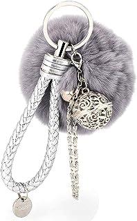 BCDshop Cute Cute Faux Fur Ball Cell Phone Car Keychain Pendant Handbag Charm Key Ring Xmas Gift
