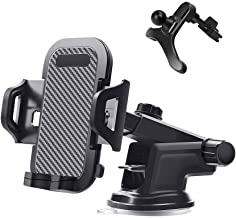 Car Phone Mount Cell Holder Phone Air Vent Cell Phone Holder Mount for Car Windshield Dashboard Adjustable Long Arm Strong Suction Cradle Compatible with iPhone Xs XS Max XR X 8 8+ 7 7+ SE 6s 6+ 6 5s