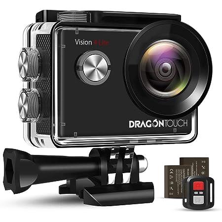 DragonTouch アクションカメラ 4K 20MP SONYセンサー ELS手ぶれ補正搭載 Wi-Fi搭載 リモコン 防水ケース 1050mAhバッテリー2個付属 30M防水 外部マイク対応 小型 ウェアラブルカメラ 対角170°広角レンズ ウェブカメラ スポーツカメラ 豊富な付属品 日本語説明書「Vision 4 Lite