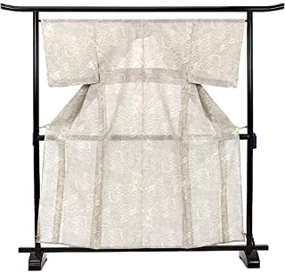 大島紬 夏 単衣 白 シンプル 上品 カジュアル 正絹 着物 きもの リサイクル レディース 90021668