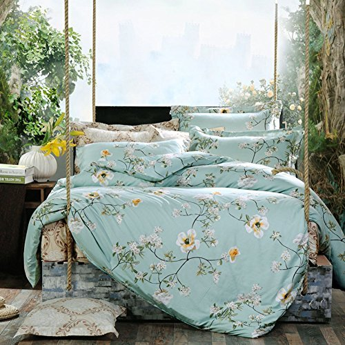 Duvet Cover Set 3 pieces (1 Duvet Cover Double Sided + 2 Pillow Shams) - Green Floral Printed -Soft Lightweight Luxury Microfiber - Hypoallergenic Comforter Covers - Size included Twin Full Queen King