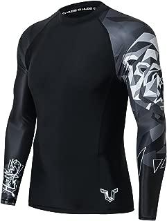 HUGE SPORTS Mens Wildling Series Quick Dry Compression MMA BJJ Rash Guard Rashguard Swim Swimming Surfing Shirt Tee Long Sleeve UV Protection