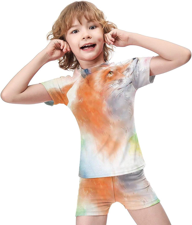 Yiaoflying Kids Boys 2 Piece Swimwear Set - Colorful Cartoon Fox Rashguard Swimsuit Trunks