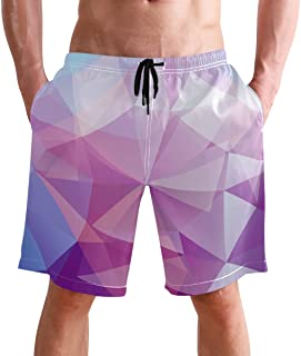 FFY Go Beach Shorts, Geometric Triangles Design Printed Mens Trunks Swim Short Quick Dry with Pockets for Summer Surfing B...