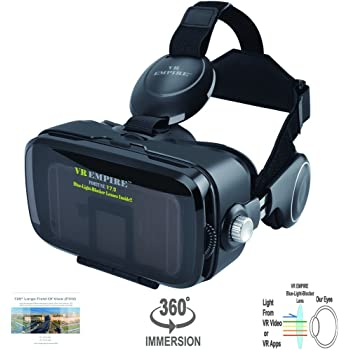 VR Headset 3D Glasses with 120° FOV, Anti-Blue-Light Lenses, Stereo Headset, for All Smartphones with Length Below 6.3 inch Such as iPhone & Samsung HTC HP LG etc.