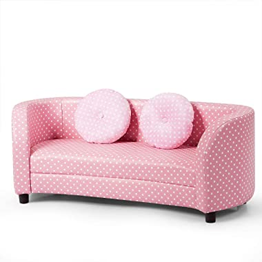 HONEY JOY Kids Sofa, 2 Seat Toddler Couch Armchair w/Sturdy Wooden Frame, Toddler Lounge Bed w/Two Round Blosters, Children Sized Armrest Chair Sofa for Living Room, Bedroom (Pink)
